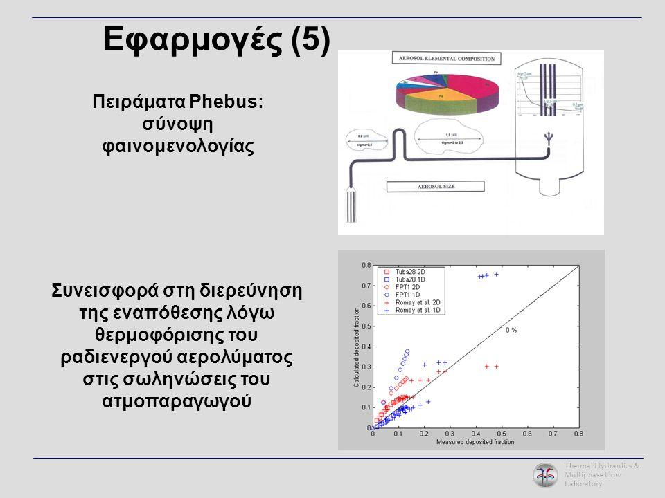 Thermal Hydraulics & Multiphase Flow Laboratory Πειράματα Phebus: σύνοψη φαινομενολογίας Συνεισφορά στη διερεύνηση της εναπόθεσης λόγω θερμοφόρισης του ραδιενεργού αερολύματος στις σωληνώσεις του ατμοπαραγωγού Εφαρμογές (5)
