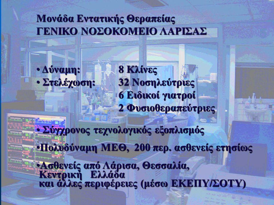 Μονάδα Εντατικής Θεραπείας ΓΕΝΙΚΟ ΝΟΣΟΚΟΜΕΙΟ ΛΑΡΙΣΑΣ • Δύναμη: 8 Κλίνες • Στελέχωση: 32 Νοσηλεύτριες 6 Ειδικοί γιατροί 2 Φυσιοθεραπεύτριες • Σύγχρονος