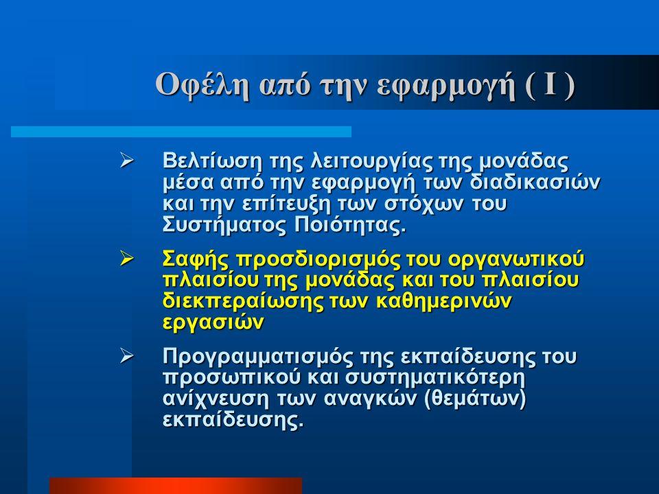 Οφέλη από την εφαρμογή ( Ι )  Βελτίωση της λειτουργίας της μονάδας μέσα από την εφαρμογή των διαδικασιών και την επίτευξη των στόχων του Συστήματος Π