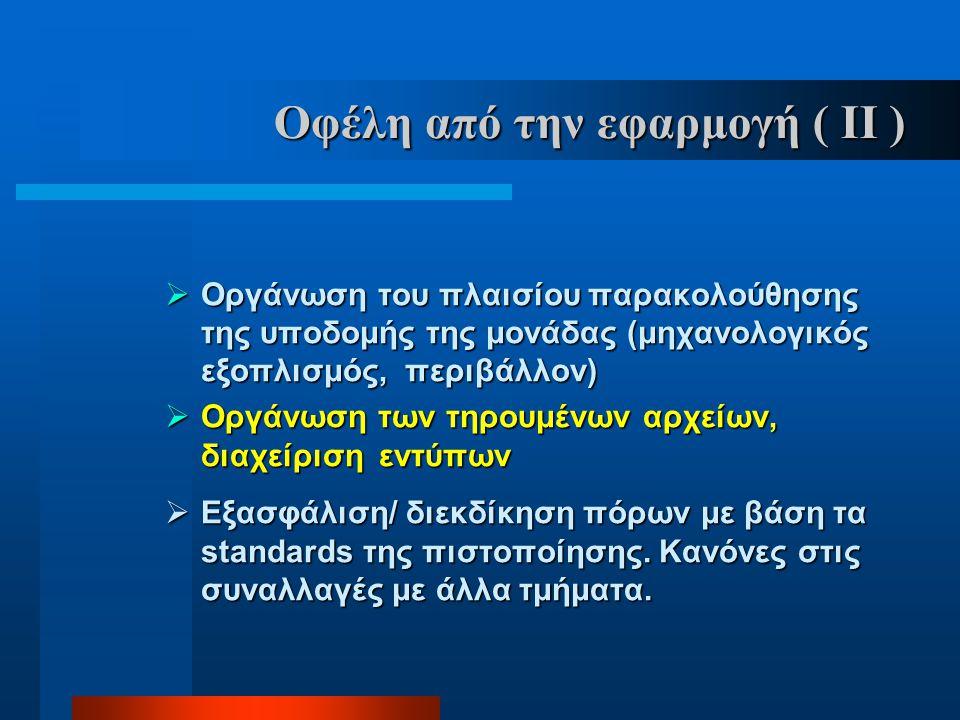 Οφέλη από την εφαρμογή ( ΙΙ )  Οργάνωση του πλαισίου παρακολούθησης της υποδομής της μονάδας (μηχανολογικός εξοπλισμός, περιβάλλον)  Οργάνωση των τη