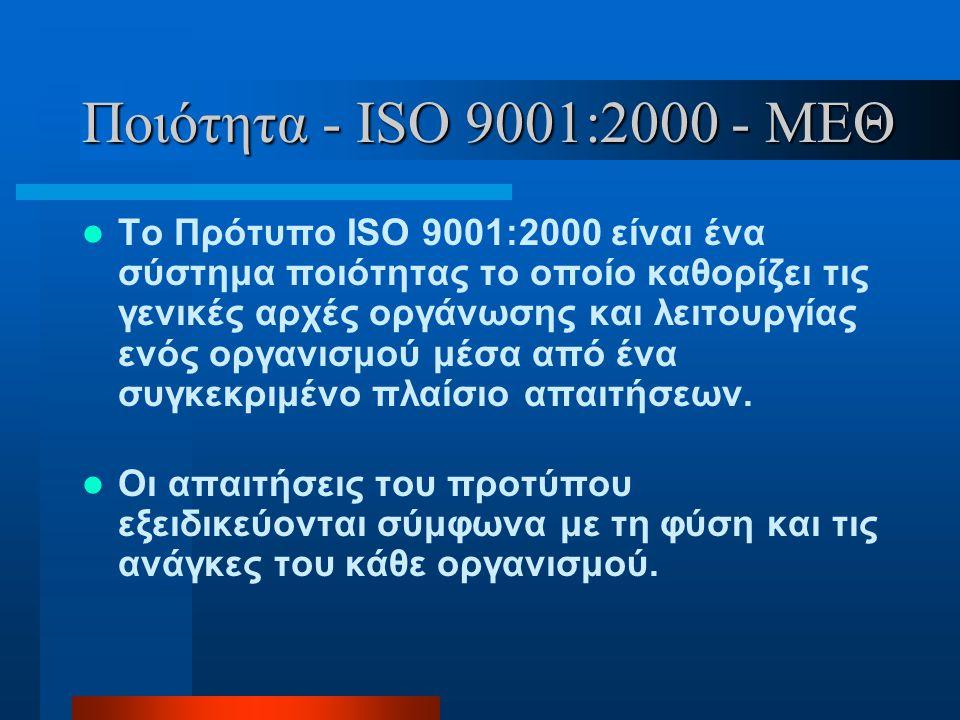 Ποιότητα - ISO 9001:2000 - ΜΕΘ  Το Πρότυπο ISO 9001:2000 είναι ένα σύστημα ποιότητας το οποίο καθορίζει τις γενικές αρχές οργάνωσης και λειτουργίας ε