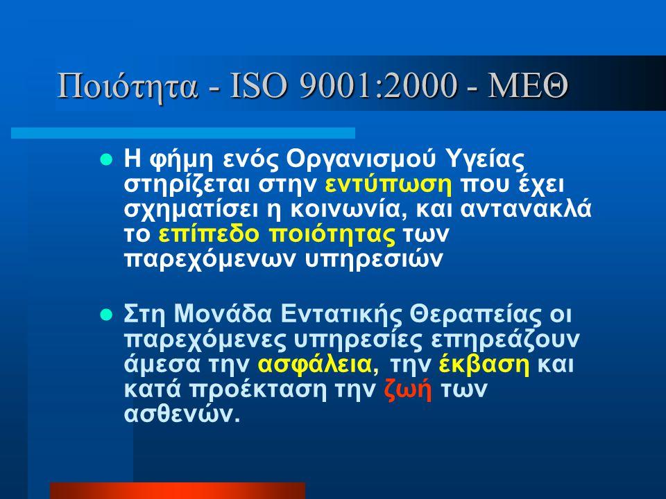 Ποιότητα - ISO 9001:2000 - ΜΕΘ  Η φήμη ενός Οργανισμού Υγείας στηρίζεται στην εντύπωση που έχει σχηματίσει η κοινωνία, και αντανακλά το επίπεδο ποιότ