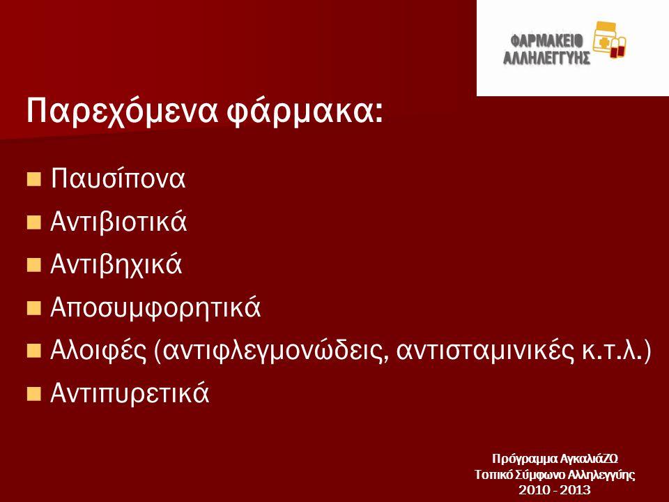 Παρεχόμενα φάρμακα:   Παυσίπονα   Αντιβιοτικά   Αντιβηχικά   Αποσυμφορητικά   Αλοιφές (αντιφλεγμονώδεις, αντισταμινικές κ.τ.λ.)   Αντιπυρετικά Πρόγραμμα ΑγκαλιάΖΩ Τοπικό Σύμφωνο Αλληλεγγύης 2010 - 2013