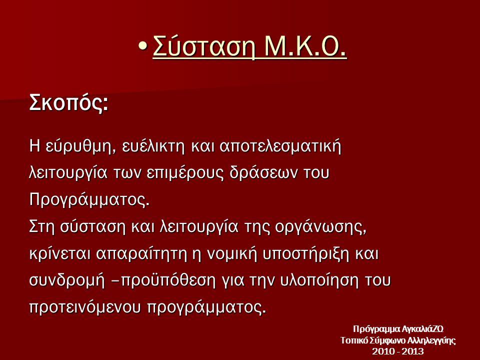 •Σύσταση Μ.Κ.Ο.