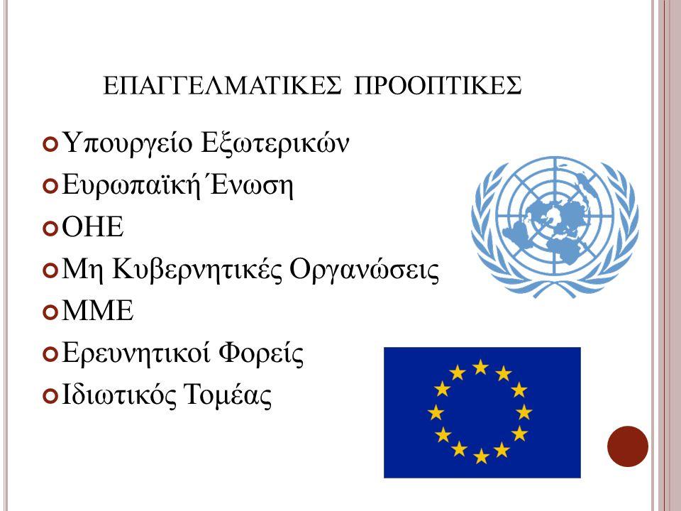 ΕΠΑΓΓΕΛΜΑΤΙΚΕΣ ΠΡΟΟΠΤΙΚΕΣ Υπουργείο Εξωτερικών Ευρωπαϊκή Ένωση ΟΗΕ Μη Κυβερνητικές Οργανώσεις ΜΜΕ Ερευνητικοί Φορείς Ιδιωτικός Τομέας