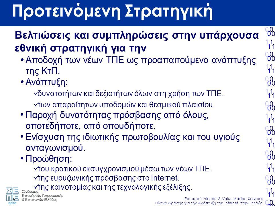 010101010101010010101010101010 Επιτροπή Internet & Value Added Services Πλάνο Δράσης για την Ανάπτυξη του Internet στην Ελλάδα 010101010101010010101010101010 010101010101010010101010101010 010101010101010010101010101010 Προτεινόμενη Στρατηγική Βελτιώσεις και συμπληρώσεις στην υπάρχουσα εθνική στρατηγική για την  Αποδοχή των νέων ΤΠΕ ως προαπαιτούμενο ανάπτυξης της ΚτΠ.