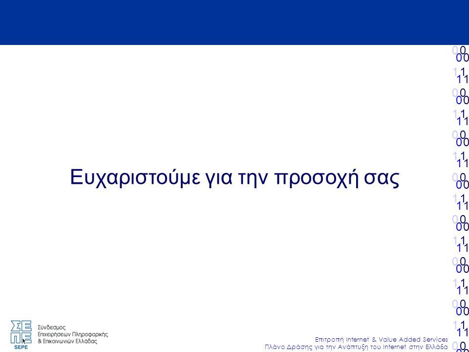 010101010101010010101010101010 Επιτροπή Internet & Value Added Services Πλάνο Δράσης για την Ανάπτυξη του Internet στην Ελλάδα 010101010101010010101010101010 010101010101010010101010101010 010101010101010010101010101010 Ευχαριστούμε για την προσοχή σας