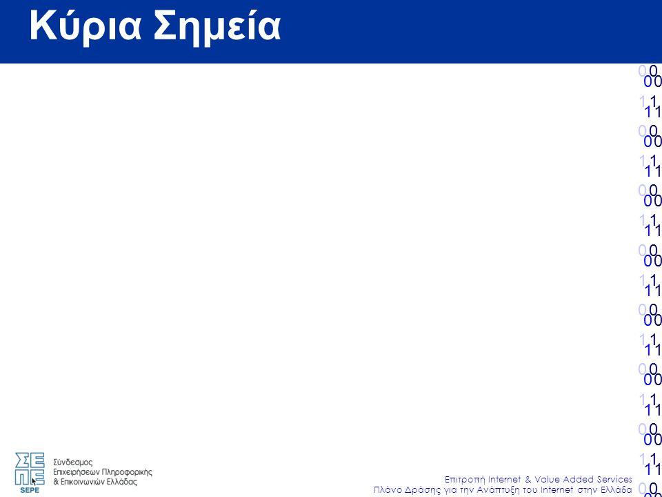 010101010101010010101010101010 Επιτροπή Internet & Value Added Services Πλάνο Δράσης για την Ανάπτυξη του Internet στην Ελλάδα 010101010101010010101010101010 010101010101010010101010101010 010101010101010010101010101010 Κύρια Σημεία