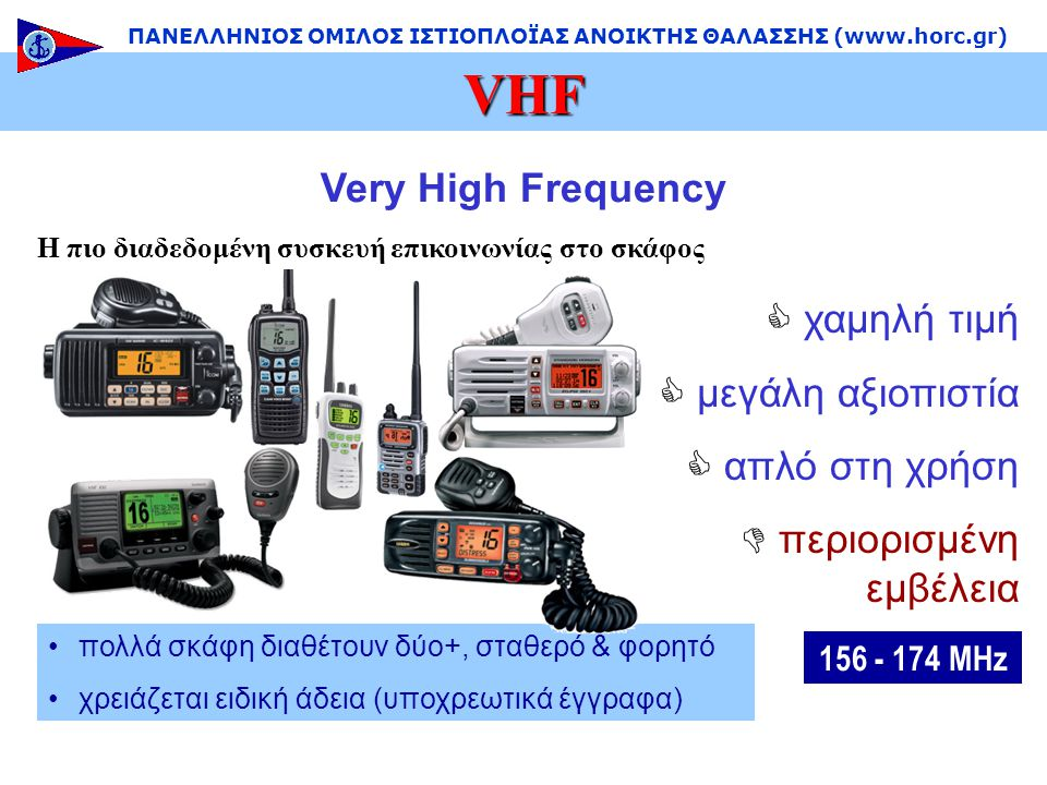 Very High Frequency Η πιο διαδεδομένη συσκευή επικοινωνίας στο σκάφος •πολλά σκάφη διαθέτουν δύο+, σταθερό & φορητό •χρειάζεται ειδική άδεια (υποχρεωτικά έγγραφα)  χαμηλή τιμή  μεγάλη αξιοπιστία  απλό στη χρήση  περιορισμένη εμβέλεια VHF ΠΑΝΕΛΛΗΝΙΟΣ ΟΜΙΛΟΣ ΙΣΤΙΟΠΛΟΪΑΣ ΑΝΟΙΚΤΗΣ ΘΑΛΑΣΣΗΣ (www.horc.gr) 156 - 174 MHz
