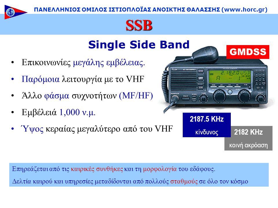 2182 KHz κοινή ακρόαση Single Side Band •Επικοινωνίες μεγάλης εμβέλειας.