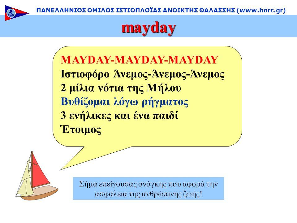mayday ΠΑΝΕΛΛΗΝΙΟΣ ΟΜΙΛΟΣ ΙΣΤΙΟΠΛΟΪΑΣ ΑΝΟΙΚΤΗΣ ΘΑΛΑΣΣΗΣ (www.horc.gr) Σήμα επείγουσας ανάγκης που αφορά την ασφάλεια της ανθρώπινης ζωής.
