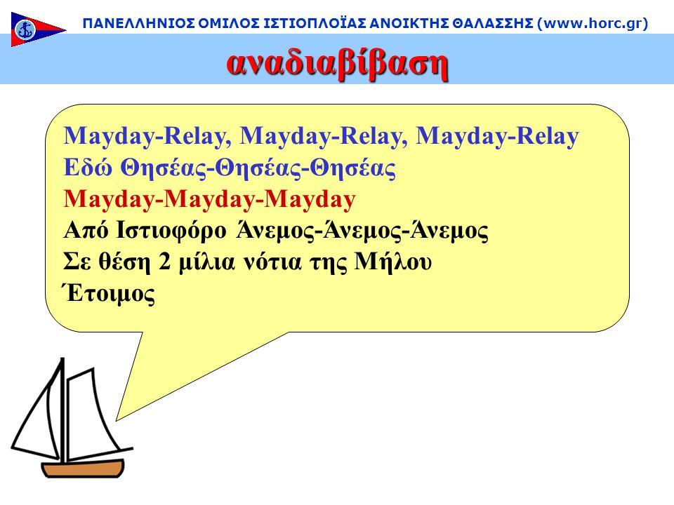 αναδιαβίβαση ΠΑΝΕΛΛΗΝΙΟΣ ΟΜΙΛΟΣ ΙΣΤΙΟΠΛΟΪΑΣ ΑΝΟΙΚΤΗΣ ΘΑΛΑΣΣΗΣ (www.horc.gr) Mayday-Relay, Mayday-Relay, Mayday-Relay Εδώ Θησέας-Θησέας-Θησέας Mayday-Mayday-Mayday Από Ιστιοφόρο Άνεμος-Άνεμος-Άνεμος Σε θέση 2 μίλια νότια της Μήλου Έτοιμος