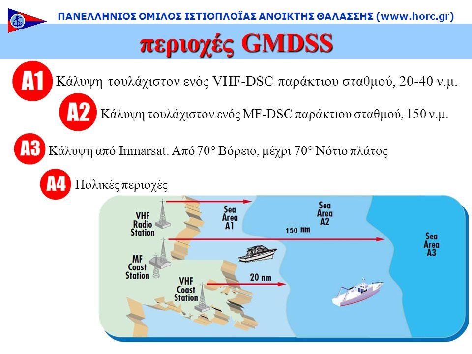 περιοχές GMDSS ΠΑΝΕΛΛΗΝΙΟΣ ΟΜΙΛΟΣ ΙΣΤΙΟΠΛΟΪΑΣ ΑΝΟΙΚΤΗΣ ΘΑΛΑΣΣΗΣ (www.horc.gr) Κάλυψη τουλάχιστον ενός VHF-DSC παράκτιου σταθμού, 20-40 ν.μ.