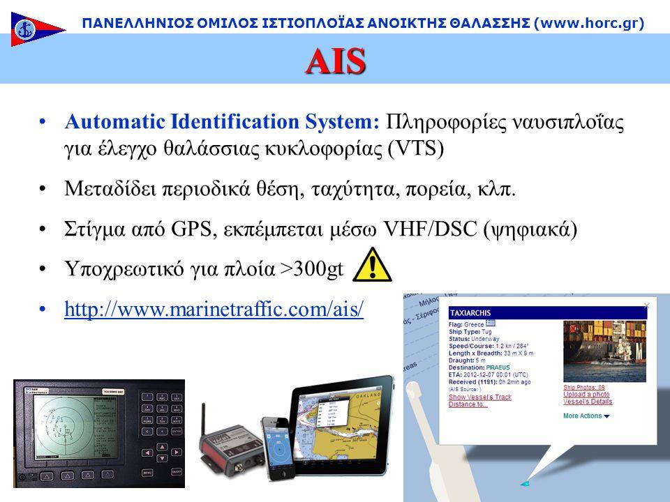 •Automatic Identification System: Πληροφορίες ναυσιπλοΐας για έλεγχο θαλάσσιας κυκλοφορίας (VTS) •Μεταδίδει περιοδικά θέση, ταχύτητα, πορεία, κλπ.