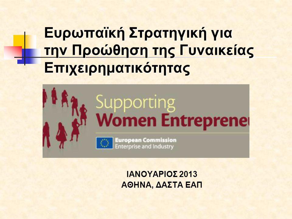 Άρση των στερεοτύπων φύλου και ενίσχυση επιχειρηματικής κουλτούρας/ αλλαγή στη νοοτροπία των:  Μαθητών-Μαθητριών / Φοιτητών- Φοιτητριών  Νέων επαγγελματιών  Οικογένειας  Σχολείου  Πολιτείας- Δημοσίου τομέα  Χρηματοπιστωτικού συστήματος  Φορέων που συνεργούν στην υποβάθμιση της θέσης της γυναίκας και στην παρεμπόδιση του «επιχειρείν» Μέσω  Εκπαίδευσης, Διά Βίου Μάθησης, Επιμόρφωσης  Δημοσιοποίησης των καλών πρακτικών  Παρουσίασης Γυναικών Μοντέλων-Ιστοριών Επιτυχίας  Δικτύωσης- Εξωστρέφειας (Being Global) ΠΟΛΙΤΙΚΕΣ ΤΗΣ ΕΥΡΩΠΑΙΚΗΣ ΕΠΙΤΡΟΠΗΣ: ΕΝΙΣΧΥΣΗ ΤΗΣ ΓΥΝΑΙΚΕΙΑΣ ΕΠΙΧΕΙΡΗΜΑΤΙΚΟΤΗΤΑΣ