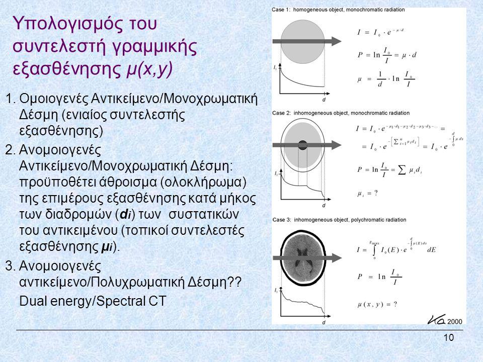 Υπολογισμός του συντελεστή γραμμικής εξασθένησης μ(x,y) 1.Ομοιογενές Αντικείμενο/Μονοχρωματική Δέσμη (ενιαίος συντελεστής εξασθένησης) 2.Ανομοιογενές Αντικείμενο/Μονοχρωματική Δέσμη: προϋποθέτει άθροισμα (ολοκλήρωμα) της επιμέρους εξασθένησης κατά μήκος των διαδρομών (d i ) των συστατικών του αντικειμένου (τοπικοί συντελεστές εξασθένησης μ i ).