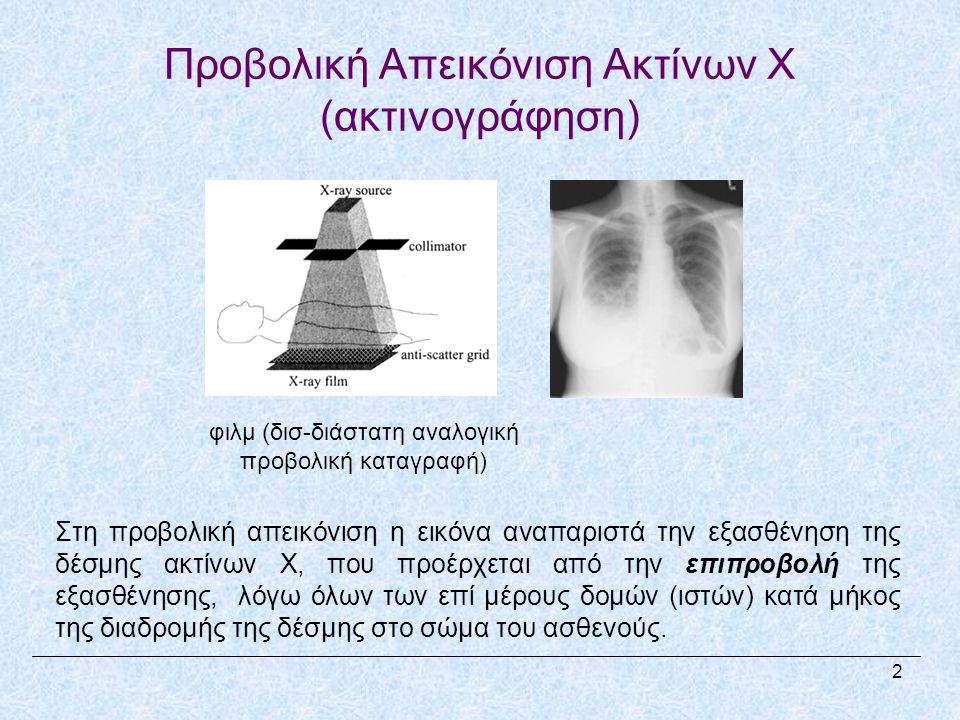 Προβολική Απεικόνιση Ακτίνων X (ακτινογράφηση) Στη προβολική απεικόνιση η εικόνα αναπαριστά την εξασθένηση της δέσμης ακτίνων X, που προέρχεται από την επιπροβολή της εξασθένησης, λόγω όλων των επί μέρους δομών (ιστών) κατά μήκος της διαδρομής της δέσμης στο σώμα του ασθενούς.