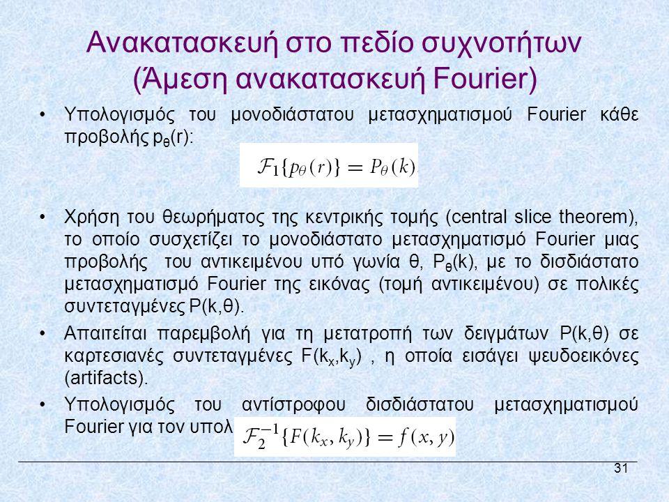 Ανακατασκευή στο πεδίο συχνοτήτων (Άμεση ανακατασκευή Fourier) •Υπολογισμός του μονοδιάστατου μετασχηματισμού Fourier κάθε προβολής p θ (r): •Χρήση του θεωρήματος της κεντρικής τομής (central slice theorem), το οποίο συσχετίζει το μονοδιάστατο μετασχηματισμό Fourier μιας προβολής του αντικειμένου υπό γωνία θ, P θ (k), με το δισδιάστατο μετασχηματισμό Fourier της εικόνας (τομή αντικειμένου) σε πολικές συντεταγμένες P(k,θ).
