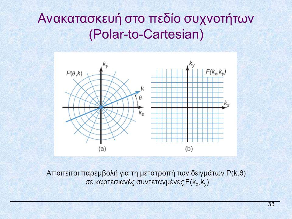 Ανακατασκευή στο πεδίο συχνοτήτων (Polar-to-Cartesian) 33 Απαιτείται παρεμβολή για τη μετατροπή των δειγμάτων P(k,θ) σε καρτεσιανές συντεταγμένες F(k x,k y )