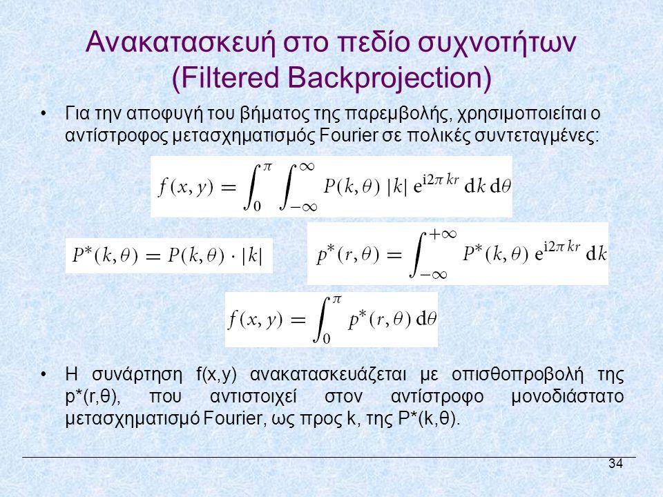 Ανακατασκευή στο πεδίο συχνοτήτων (Filtered Backprojection) •Για την αποφυγή του βήματος της παρεμβολής, χρησιμοποιείται ο αντίστροφος μετασχηματισμός Fourier σε πολικές συντεταγμένες: •Η συνάρτηση f(x,y) ανακατασκευάζεται με οπισθοπροβολή της p*(r,θ), που αντιστοιχεί στον αντίστροφο μονοδιάστατο μετασχηματισμό Fourier, ως προς k, της P*(k,θ).