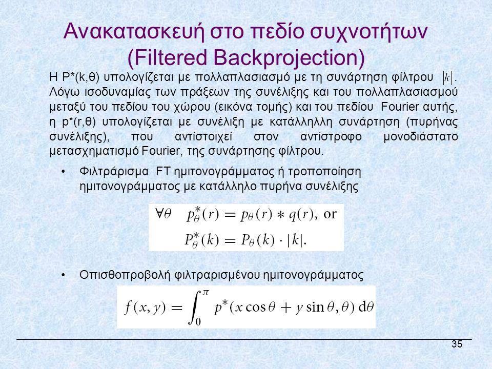 •Φιλτράρισμα FT ημιτονογράμματος ή τροποποίηση ημιτονογράμματος με κατάλληλο πυρήνα συνέλιξης •Οπισθοπροβολή φιλτραρισμένου ημιτονογράμματος Η P*(k,θ) υπολογίζεται με πολλαπλασιασμό με τη συνάρτηση φίλτρου.