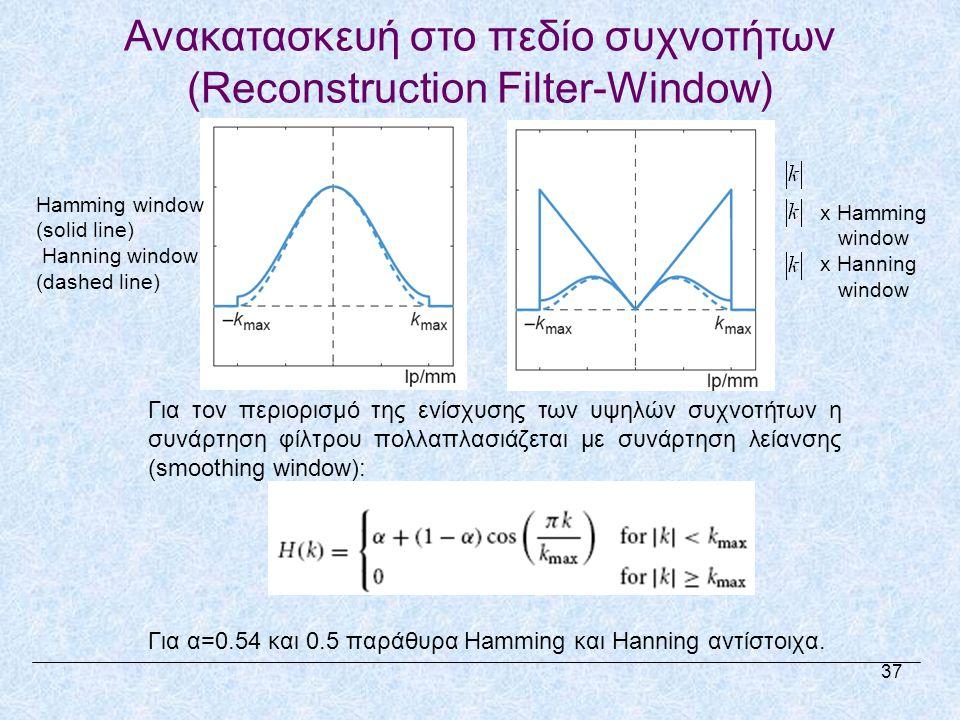 Ανακατασκευή στο πεδίο συχνοτήτων (Reconstruction Filter-Window) Για τον περιορισμό της ενίσχυσης των υψηλών συχνοτήτων η συνάρτηση φίλτρου πολλαπλασιάζεται με συνάρτηση λείανσης (smoothing window): Για α=0.54 και 0.5 παράθυρα Hamming και Hanning αντίστοιχα.