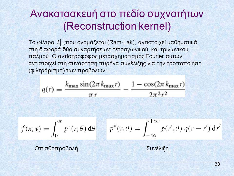 Ανακατασκευή στο πεδίο συχνοτήτων (Reconstruction kernel) Το φίλτρο,που ονομάζεται (Ram-Lak), αντιστοιχεί μαθηματικά στη διαφορά δύο συναρτήσεων: τετραγωνικού και τριγωνικού παλμού.