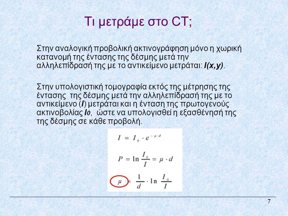 Τι μετράμε στο CT; Στην αναλογική προβολική ακτινογράφηση μόνο η χωρική κατανομή της έντασης της δέσμης μετά την αλληλεπίδρασή της με το αντικείμενο μετράται: I(x,y).