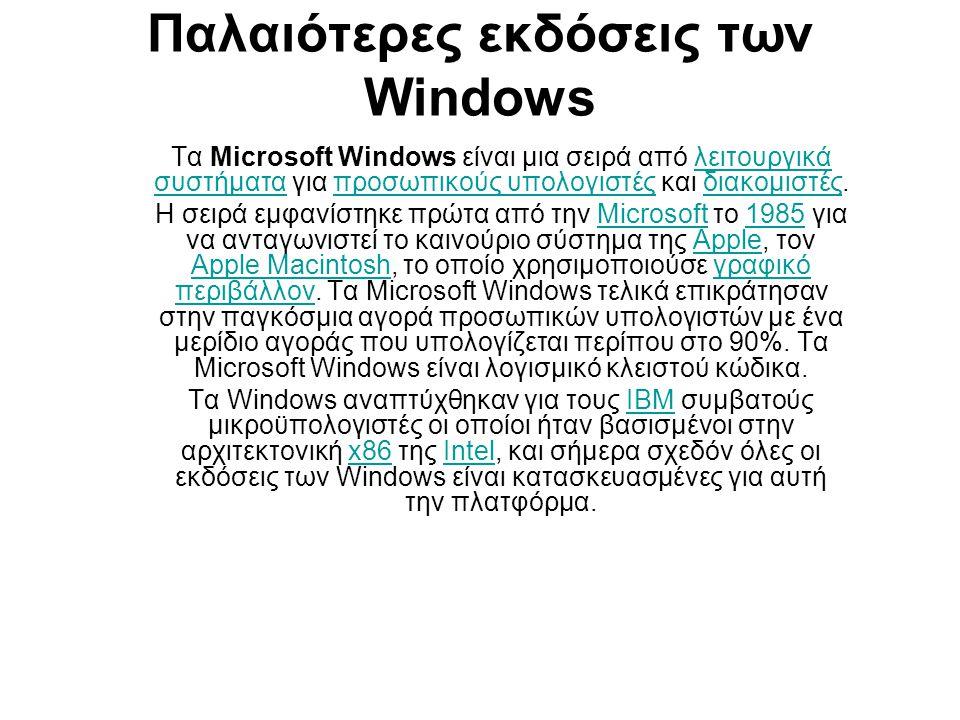 Παλαιότερες εκδόσεις των Windows Τα Microsoft Windows είναι μια σειρά από λειτουργικά συστήματα για προσωπικούς υπολογιστές και διακομιστές.λειτουργικά συστήματαπροσωπικούς υπολογιστέςδιακομιστές H σειρά εμφανίστηκε πρώτα από την Microsoft το 1985 για να ανταγωνιστεί το καινούριο σύστημα της Apple, τον Apple Macintosh, το οποίο χρησιμοποιούσε γραφικό περιβάλλον.
