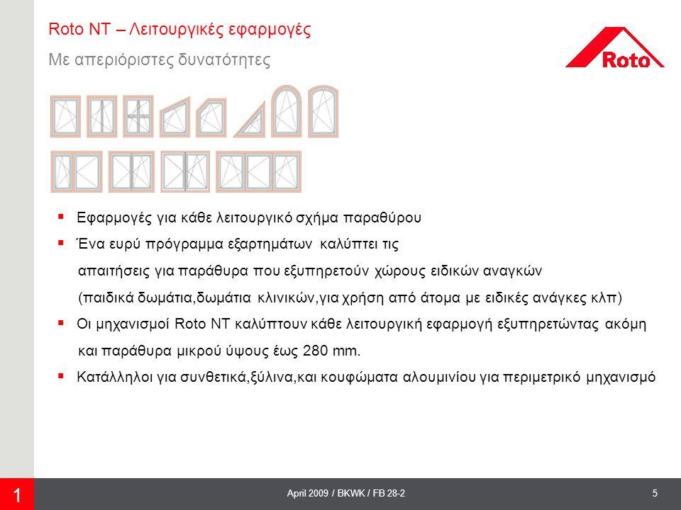 5April 2009 / BKWK / FB 28-2 Roto NT – Λειτουργικές εφαρμογές Με απεριόριστες δυνατότητες  Εφαρμογές για κάθε λειτουργικό σχήμα παραθύρου  Ένα ευρύ