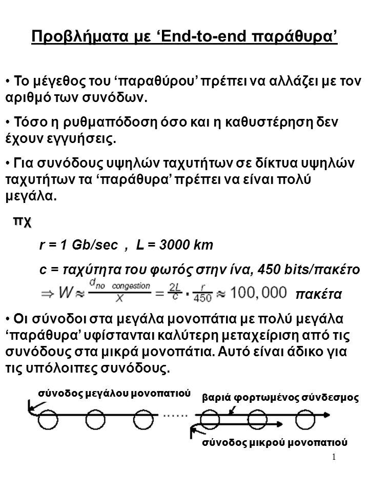 1 • Το μέγεθος του 'παραθύρου' πρέπει να αλλάζει με τον αριθμό των συνόδων.