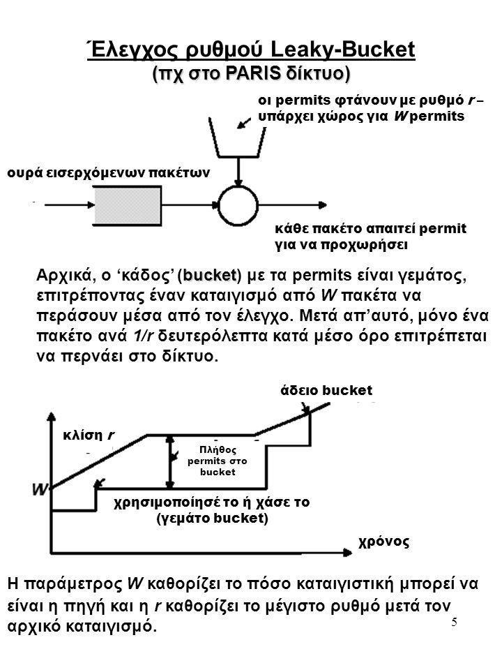 5 Έλεγχος ρυθμού Leaky-Bucket (πχ στο PARIS δίκτυο) ουρά εισερχόμενων πακέτων κάθε πακέτο απαιτεί permit για να προχωρήσει οι permits φτάνουν με ρυθμό r – υπάρχει χώρος για W permits bucket Αρχικά, ο 'κάδος' (bucket) με τα permits είναι γεμάτος, επιτρέποντας έναν καταιγισμό από W πακέτα να περάσουν μέσα από τον έλεγχο.