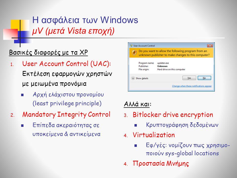 Η ασφάλεια των Windows μV (μετά Vista εποχή) Βασικές διαφορές με τα XP 1.
