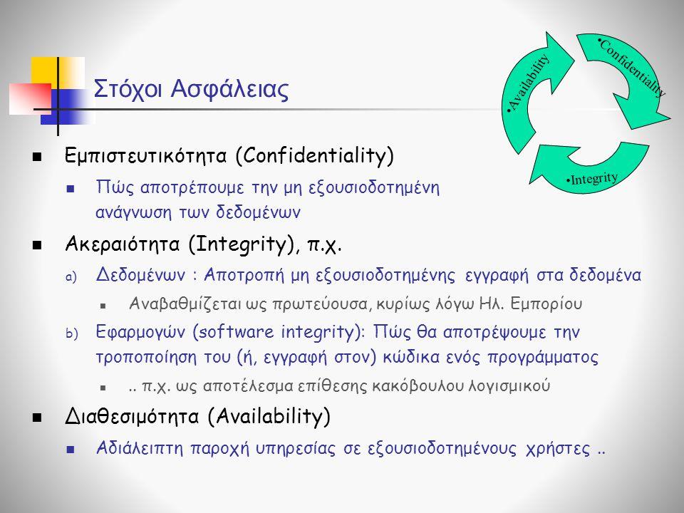 Στόχοι Ασφάλειας  Εμπιστευτικότητα (Confidentiality)  Πώς αποτρέπουμε την μη εξουσιοδοτημένη ανάγνωση των δεδομένων  Ακεραιότητα (Integrity), π.χ.