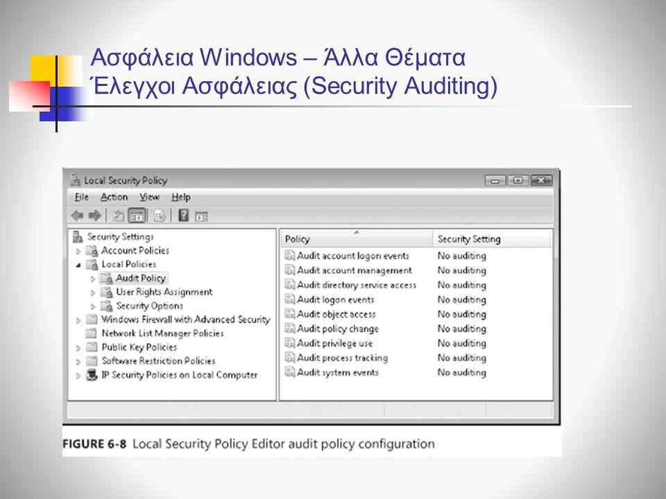 Ασφάλεια Windows – Άλλα Θέματα Έλεγχοι Ασφάλειας (Security Auditing)
