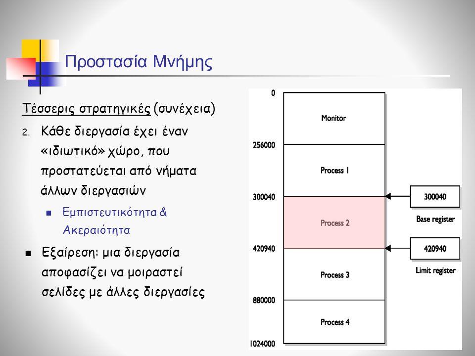 Προστασία Μνήμης Τέσσερις στρατηγικές (συνέχεια) 2.
