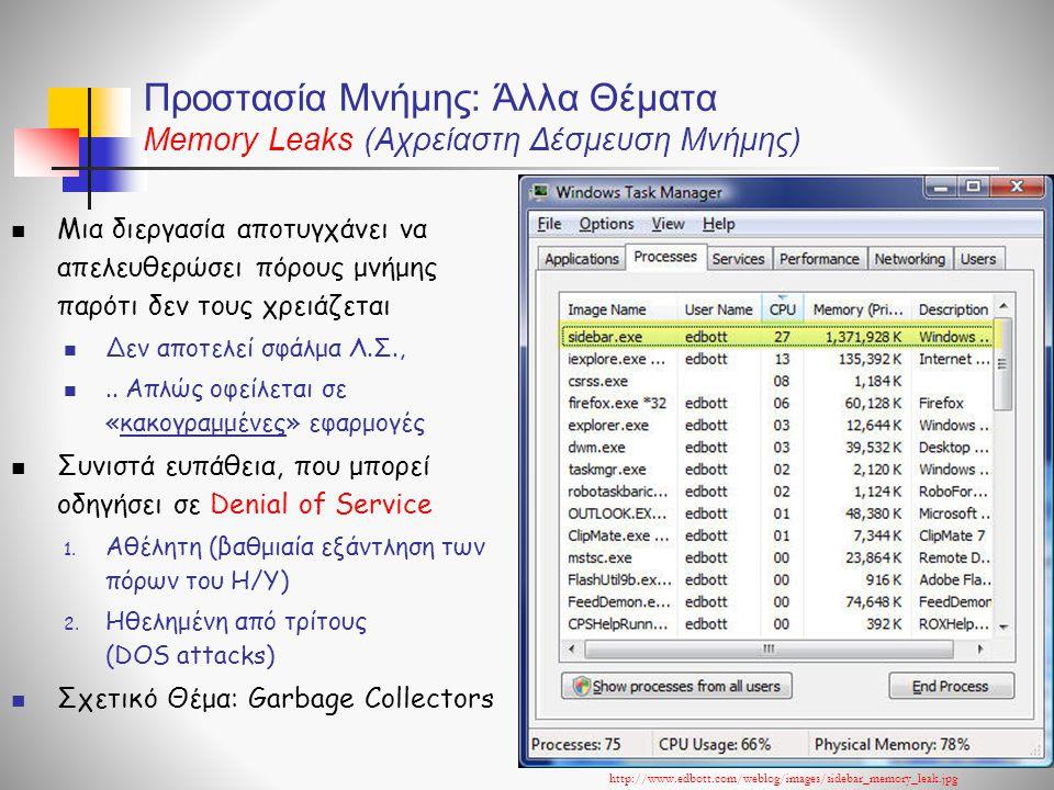 Προστασία Μνήμης: Άλλα Θέματα Memory Leaks (Αχρείαστη Δέσμευση Μνήμης)  Μια διεργασία αποτυγχάνει να απελευθερώσει πόρους μνήμης παρότι δεν τους χρειάζεται  Δεν αποτελεί σφάλμα Λ.Σ., ..