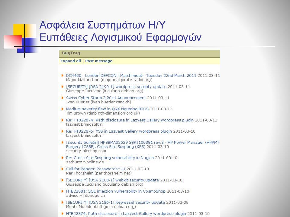Ασφάλεια Συστημάτων Η/Υ Ευπάθειες Λογισμικού Εφαρμογών