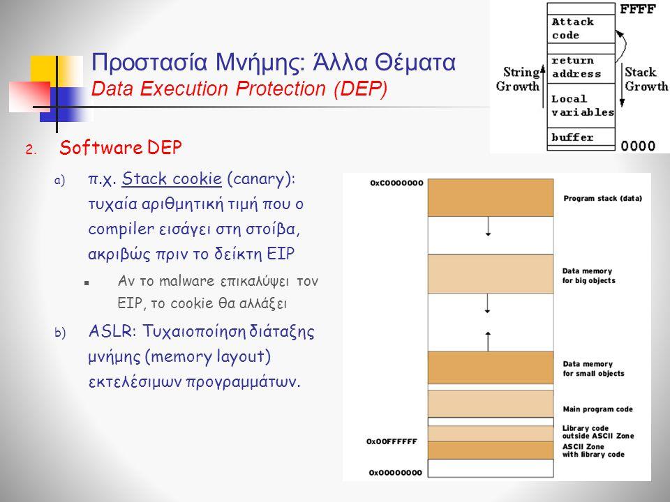 Προστασία Μνήμης: Άλλα Θέματα Data Execution Protection (DEP) 2.
