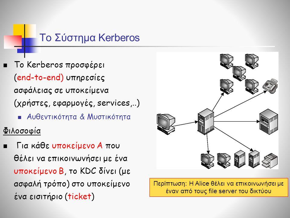 Το Σύστημα Kerberos  Το Kerberos προσφέρει (end-to-end) υπηρεσίες ασφάλειας σε υποκείμενα (χρήστες, εφαρμογές, services,..)  Αυθεντικότητα & Μυστικότητα Φιλοσοφία  Για κάθε υποκείμενο Α που θέλει να επικοινωνήσει με ένα υποκείμενο Β, το KDC δίνει (με ασφαλή τρόπο) στο υποκείμενο ένα εισιτήριο (ticket) Περίπτωση: H Alice θέλει να επικοινωνήσει με έναν από τους file server του δικτύου