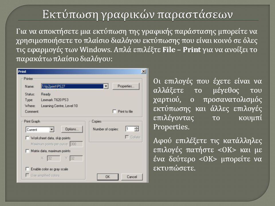 Για να αποκτήσετε μια εκτύπωση της γραφικής παράστασης μπορείτε να χρησιμοποιήσετε το πλαίσιο διαλόγου εκτύπωσης που είναι κοινό σε όλες τις εφαρμογές
