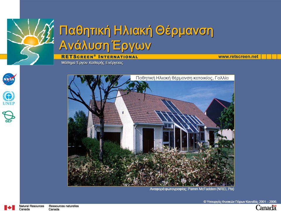 Μάθημα Έργου Καθαρής Ενέργειας © Υπουργός Φυσικών Πόρων Καναδάς 2001 – 2006. Αναφορά φωτογραφίας: Pamm McFadden (NREL Pix) Παθητική Ηλιακή Θέρμανση Αν