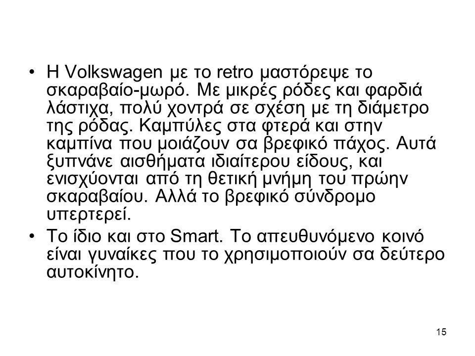 15 •Η Volkswagen με το retro μαστόρεψε το σκαραβαίο-μωρό. Με μικρές ρόδες και φαρδιά λάστιχα, πολύ χοντρά σε σχέση με τη διάμετρο της ρόδας. Καμπύλες