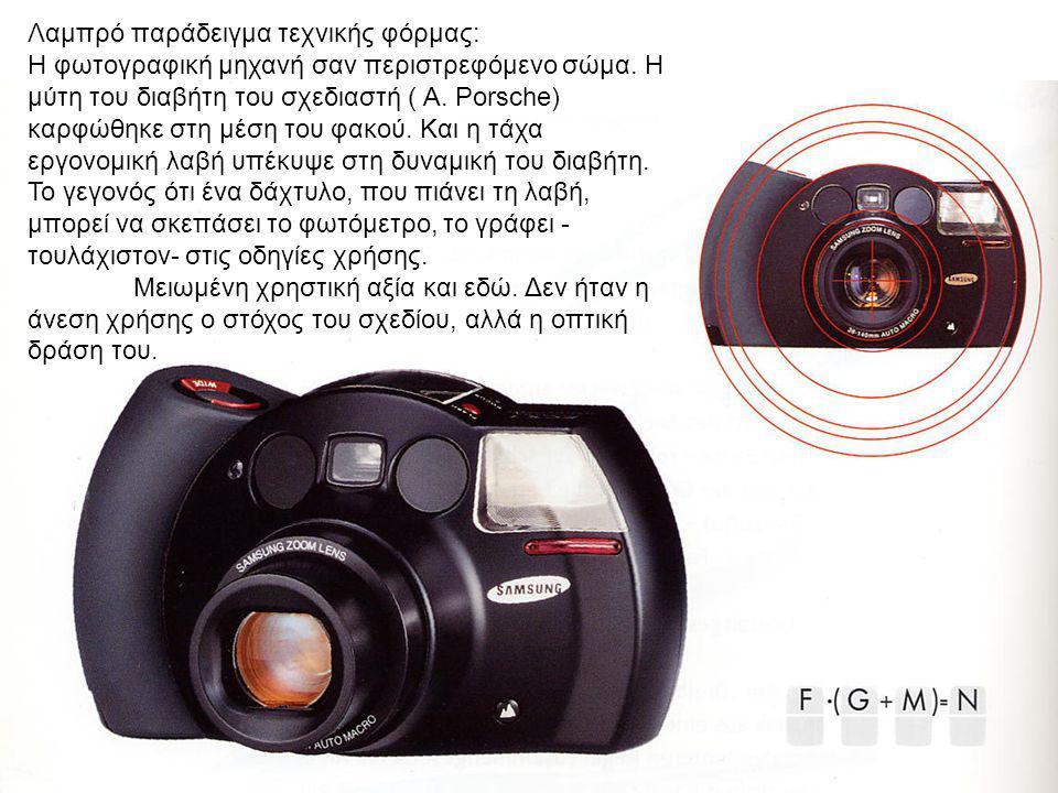 4 Λαμπρό παράδειγμα τεχνικής φόρμας: Η φωτογραφική μηχανή σαν περιστρεφόμενο σώμα. Η μύτη του διαβήτη του σχεδιαστή ( Α. Porsche) καρφώθηκε στη μέση τ