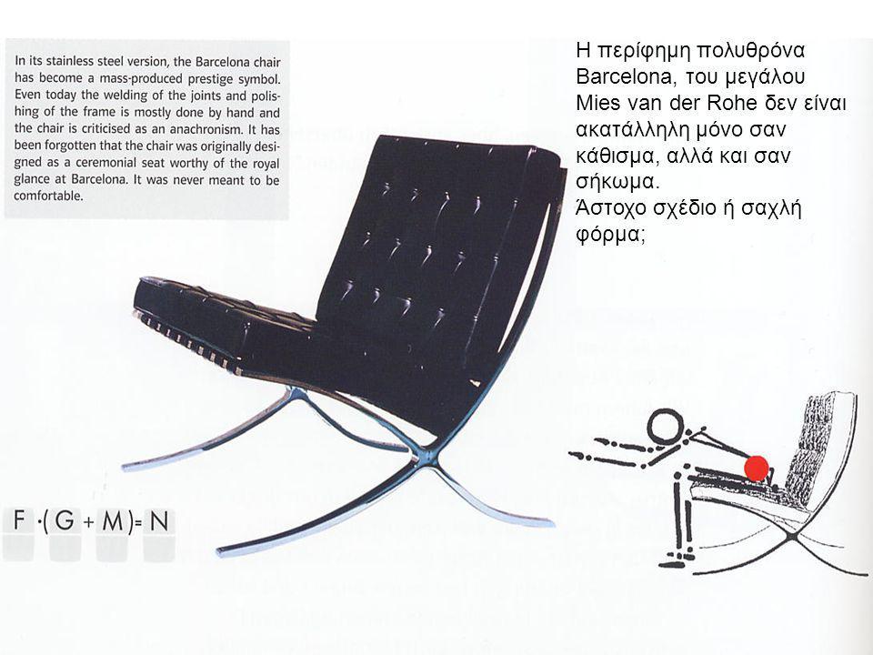 5 Η περίφημη πολυθρόνα Barcelona, του μεγάλου Μies van der Rohe δεν είναι ακατάλληλη μόνο σαν κάθισμα, αλλά και σαν σήκωμα. Άστοχο σχέδιο ή σαχλή φόρμ