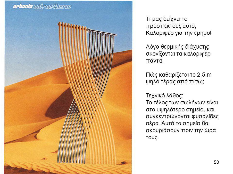 50 Τι μας δείχνει το προσπέκτους αυτό; Καλοριφέρ για την έρημο! Λόγο θερμικής διάχυσης σκονίζονται τα καλοριφέρ πάντα. Πώς καθαρίζεται το 2,5 m ψηλό τ