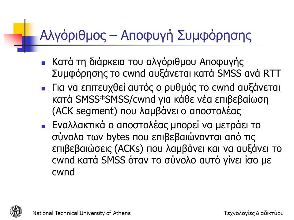 National Technical University of AthensΤεχνολογίες Διαδικτύου Αλγόριθμος – Αποφυγή Συμφόρησης  Κατά τη διάρκεια του αλγόριθμου Αποφυγής Συμφόρησης το cwnd αυξάνεται κατά SMSS ανά RTT  Για να επιτευχθεί αυτός ο ρυθμός το cwnd αυξάνεται κατά SMSS*SMSS/cwnd για κάθε νέα επιβεβαίωση (ACK segment) που λαμβάνει ο αποστολέας  Εναλλακτικά ο αποστολέας μπορεί να μετράει το σύνολο των bytes που επιβεβαιώνονται από τις επιβεβαιώσεις (ACKs) που λαμβάνει και να αυξάνει το cwnd κατά SMSS όταν το σύνολο αυτό γίνει ίσο με cwnd