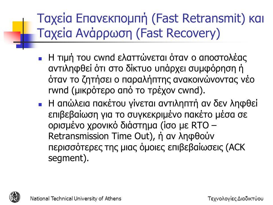National Technical University of AthensΤεχνολογίες Διαδικτύου Ταχεία Επανεκπομπή (Fast Retransmit) και Ταχεία Ανάρρωση (Fast Recovery)  Η τιμή του cwnd ελαττώνεται όταν ο αποστολέας αντιληφθεί ότι στο δίκτυο υπάρχει συμφόρηση ή όταν το ζητήσει ο παραλήπτης ανακοινώνοντας νέο rwnd (μικρότερο από το τρέχον cwnd).
