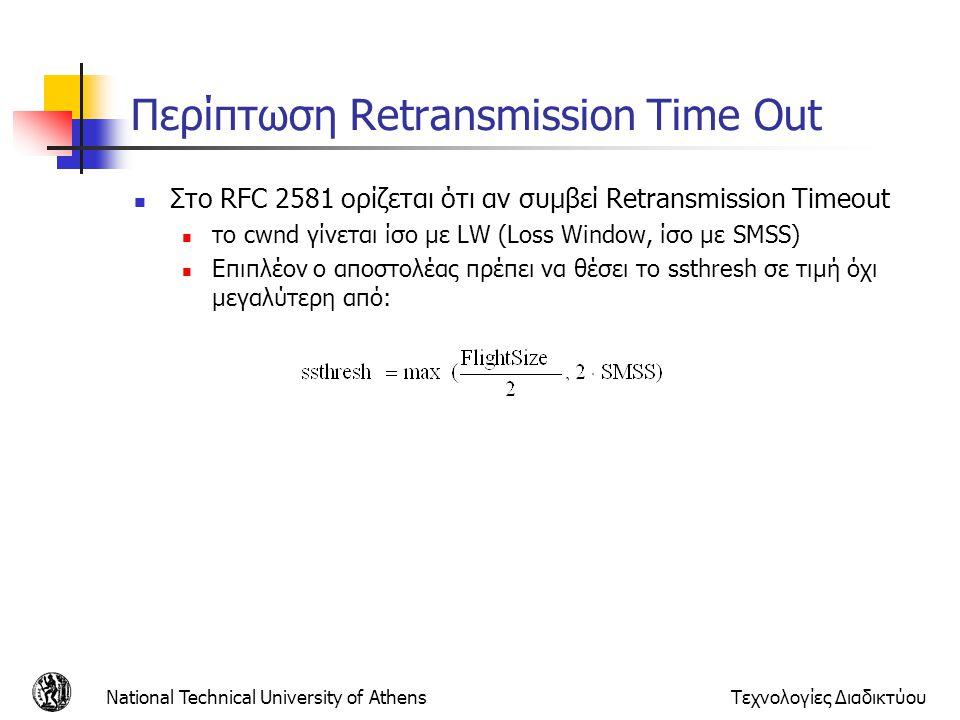 National Technical University of AthensΤεχνολογίες Διαδικτύου Περίπτωση Retransmission Time Out  Στο RFC 2581 ορίζεται ότι αν συμβεί Retransmission Timeout  το cwnd γίνεται ίσο με LW (Loss Window, ίσο με SMSS)  Επιπλέον ο αποστολέας πρέπει να θέσει το ssthresh σε τιμή όχι μεγαλύτερη από: