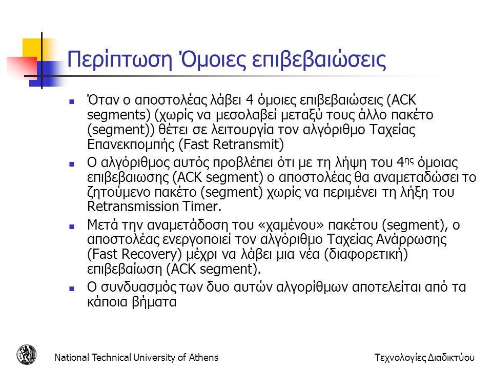 National Technical University of AthensΤεχνολογίες Διαδικτύου Περίπτωση Όμοιες επιβεβαιώσεις  Όταν ο αποστολέας λάβει 4 όμοιες επιβεβαιώσεις (ACK segments) (χωρίς να μεσολαβεί μεταξύ τους άλλο πακέτο (segment)) θέτει σε λειτουργία τον αλγόριθμο Ταχείας Επανεκπομπής (Fast Retransmit)  Ο αλγόριθμος αυτός προβλέπει ότι με τη λήψη του 4 ης όμοιας επιβεβαιωσης (ACK segment) ο αποστολέας θα αναμεταδώσει το ζητούμενο πακέτο (segment) χωρίς να περιμένει τη λήξη του Retransmission Timer.